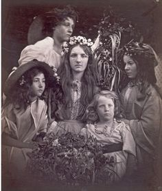 May Day taken in 1866, a typical mixed ages group with a themed setting for Julia Margaret Cameron