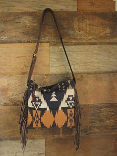 afa73a27ae Orange and Navy Fringe Bag Crossbody Bag Pendleton Purse Southwestern Bag  Boho Bag Boho Purse Leather Fringe Tribal purse