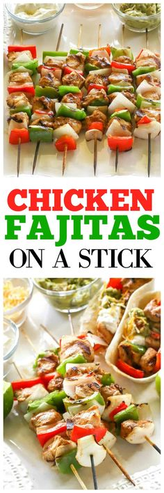 These Chicken Fajitas on a Stick are a fun way to serve fajitas. Everyone gets their own skewer! #grilled #mexicandinner the-girl-who-ate-everything.com