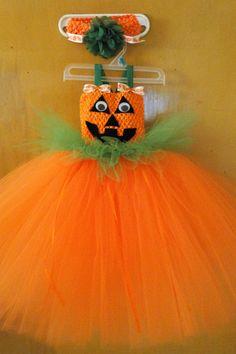 toddler girls Pumpkin tutu dress with wiggly eyes & matching headband
