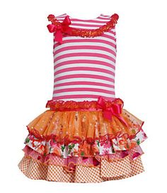 Bonnie Jean 2T-6X Striped-Bodice Tutu-Skirted Dress | Dillard's Mobile