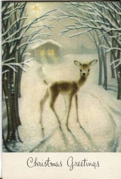 Vintage Hallmark Christmas Card: Deer in Snowy Lane