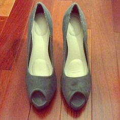 Charlotte Russe Peep Toe Platform Pumps Suede peep toe pumps in grey from Charlotte Russe. Comes with a padded shoe insert making them very comfortable. Never been worn. About a 3 inch heel. Size 8 Charlotte Russe Shoes Platforms