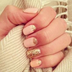 faded pink + gold glitter reverse french manicure with glitter statement nail