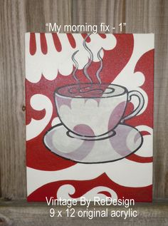My Morning Fix 1 & 2 original acrylic by VintageByReDesign on Etsy