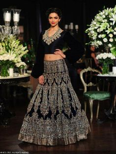 Deepika Padukone in a black lengha for Manish Malhotra at Delhi Couture Week 2013