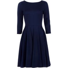 Closet Navy Long Sleeve Fit Flare Dress ($50) ❤ liked on Polyvore featuring dresses, blue long sleeve dress, blue dress, long sleeve fit and flare dress, navy dress and navy fit and flare dress