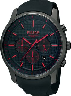 Pulsar Mens Chronograph Strap Watch from House Of Watches. Gents Watches, Sport Watches, Watches For Men, Red Watches, Mens Designer Watches, Swiss Army Watches, Watches Online, Seiko, Chronograph