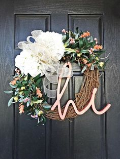 Coral Welcome Wreath Colorful Summer Wreath Olive Wreath image 0 Front Door Decor, Wreaths For Front Door, Door Wreaths, Front Porch, Handmade Crafts, Diy Crafts, Olive Wreath, Hydrangea Wreath, Welcome Wreath