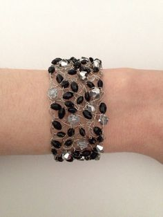 Knitted Wire Bracelet Black and Silver Bracelet by CatDKnits