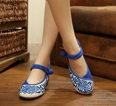 Flower Embroidery Old Peking Shoes Flat Heel Soft Sole Casual Comfortable