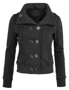 LE3NO Womens Fleece Double Breasted Pea Coat with Hood