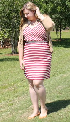 Loft Outfit raspberry stripe dress, J. Crew Factory cardigan and pearl accessories. Cute outfit on a budget. Loft Outfits, Fall Outfits, Cute Outfits, Dress With Cardigan, Stripe Dress, Work Wardrobe, School Fashion, Looking For Women, Pretty Little
