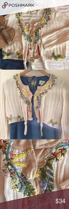 Anthropolgie embroidered cropped cardigan Field & Flower brand from Anthropologie cardigan. Great condition, only worn once for a wedding over a red dress (which I also have for sale!). Great detailing, lightweight, and with a modern, cropped shape. Perfect for spring. Anthropologie Sweaters Cardigans