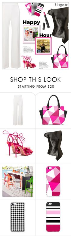 """Happy Hour With Friends"" by atelier-briella ❤ liked on Polyvore featuring Roland Mouret, Aquazzura, Grandin Road, Le Métier de Beauté, chic, Pink, Elegant, iPhonecases and happyhour"