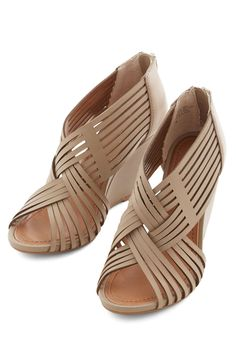 Get To Know Me Wedge in Taupe. First dates and first impressions surely put the pressure on, but you feel confident about this meetup - and the taupe Seychelles wedges you're sporting! #grey #modcloth