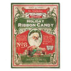 Holiday Ribbon Candy Tin Sign   Sturbridge Yankee Workshop