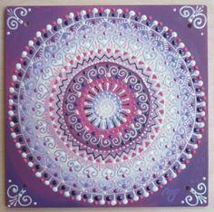 lila-fehér Nap-spirál mandala/ purple-white Sun-spiral mandala
