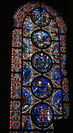 Moses window, Abbey Church of Saint-Denis located in Saint-Denis, France. 1140-44. This is the best preserved original stained glass windows at Saint-Denis.