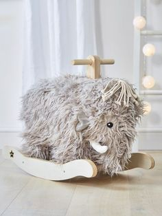 This beautifully soft and furry Mammoth rocker will absolutely become your child's (and grown-ups!) favourite toy.