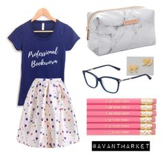 Professional Bookworm | Bookish Women's Fashion Summer Style | Stylelist, Tshirt, Casual, Trends, Pencils, navy, gold, book lover by avantmarket on Polyvore