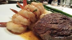 Millionaire's cut - chargrilled filet mignon, white wine, sauteed creole shrimp, mashed potatoes asparagus Shrimp Creole, Food Items, White Wine, Asparagus, Mashed Potatoes, Spicy, Restaurants, Abs, Tasty