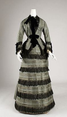 1870s silk - I love the steel color and strips of fabric