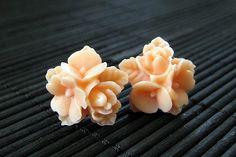 New to StumblingOnSainthood on Etsy: Peach Flower Cluster Earrings. Peach Flower Earrings. Silver Post Earrings. Stud Earrings. Flower Jewelry. Handmade Jewelry. (8.00 USD)