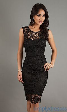 Sleeveless Lace Knee Length Dress at SimplyDresses.com, comes in white also.