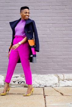 There are still a few more days left this winter. Let's make 'em count! Here are 3 tricks for making your winter coat feel new again. Diva Fashion, Work Fashion, Fashion Outfits, Magenta, Colourful Outfits, Colorful Fashion, Classy Outfits, Cute Outfits, Black Women Fashion