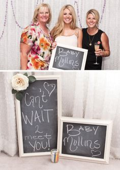Cute chalkboard @ baby shower I would love a little section with a nice back drop where people can take pictures of themselves with a message for me or baby!