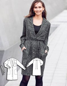 Shirt Dress with Tie 10/2015 #106AB http://www.burdastyle.com/pattern_store/patterns/shirt-dress-with-tie-102015?utm_source=burdastyle.com&utm_medium=referral&utm_campaign=bs-meh-bl-150921-SaltAndPepperCollection106