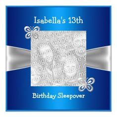 Shop Birthday Sleepover Butterfly Photo Blue Invitation created by Whodesign. 13th Birthday Parties, Happy Birthday, Butterfly Photos, Butterfly Birthday, Photo Invitations, Photo Blue, Personalized Invitations, Sleepover, Blue And Silver