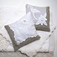 Two Organic Lavender Sachet Natural Linen with Vintage Textiles Buttons White Scented Home Decor