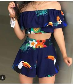 Tropical Print Top & Shorts Set - Lilly is Love Cute Girl Outfits, Cute Summer Outfits, Cute Casual Outfits, Pretty Outfits, Stylish Outfits, Short Casual Dresses, Girls Fashion Clothes, Teen Fashion Outfits, Outfits For Teens