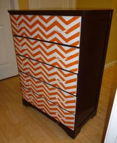 Orange chevron dresser. this is to DIE for!!! And totally goes with what I want to do.