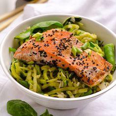 Oriental Salmon Zucchini Noodle Bowls