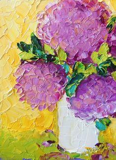 Oil painting Impasto Magenta Hydrangeas still by IronsideImpastos, $50.00