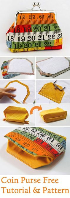 Small coin purse tutorial www.free-tutorial… - men& watch - Small coin purse tutorial www. Coin Purse Pattern, Coin Purse Tutorial, Purse Patterns, Sewing Patterns, Tote Tutorial, Diy Tutorial, Tutorial Sewing, Clothes Patterns, Sewing Projects For Beginners