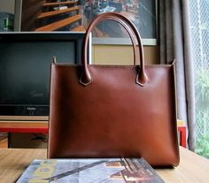 Hand Stitched Leather Tote Bag / Lady Bag / Shoulder Bag in Retro Brown on Etsy, $149.00