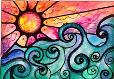 Sunview sol del atardecer impresión pintura por RobinMeadDesigns