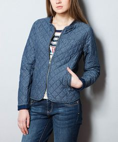 Look what I found on #zulily! Steel Blue Quilted Zip-Up Jacket by New Caro #zulilyfinds