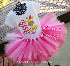 Baby Giraffe Birthday Party Tutu Outfit - Zoo Theme Tutu Outfit