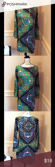 MSK Sheath Dress Multicolor with silky sheen and feel.  Sleeves 22 inches and length of 33 inches.  100% polyester for wrinkle free fabric.  Back closure of fabric covered button.   EUC. Smoke free home. MSK Dresses Midi