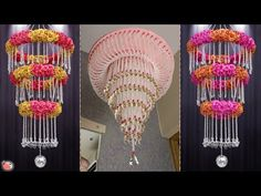 Beautiful Pearls Wall Hanging Ideas For Your Home ! Stay tuned with us for more quality DIY art and craft. Art And Craft Videos, Diy Arts And Crafts, Pearl Chandelier, Chandeliers, Easy Diy, Ceiling Lights, Make It Yourself, Pearls, Diy Food