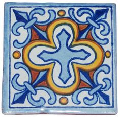 """50 Mexican talavera Tiles/ Hand painted 4 """"X on Etsy, Different Kinds Of Art, Tuile, Talavera Pottery, Clay Tiles, Decorative Tile, Tile Art, Etsy, Hand Painted, Painted Pots"""