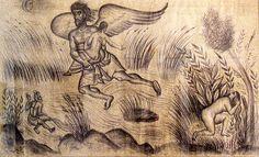 "Fotis Kontoglou, ""Boreas carrying off Oreithyia"" / Ο Βορέας αρπάζων την Ωρείθυιαν,"" 1939, κάρβουνο, 99x178 εκ. Μακέτα ενυπόγραφη για τον τοιχογραφικό διάκοσμο του Δημαρχείου Αθηνών Art Articles, Crayon, Byzantine, Moose Art, Religion, Sculptures, Drawings, Illustration, Artist"
