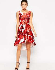 Chi Chi London High Low Full Prom Dress In Large Floral