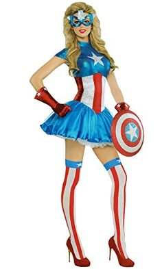 Your #1 Source for Halloween Costumes & Accessories » Marvel Captain America Women's Adult American Dream Costume X-large 14-16