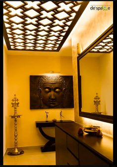 From De Space. We can add false ceiling and lights like these We can also add mirror in the center or add a buddha image in the center Just sample - not exactly this Foyer Ideas, Cute Beauty, Buddha, Acting, Ceiling, Windows, Lights, Mirror, Space